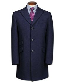 Navy wool Epsom overcoat