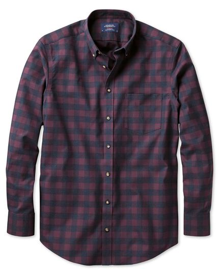 Extra slim fit non-iron twill wine and navy check shirt