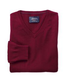 Burgundy cotton cashmere v-neck jumper