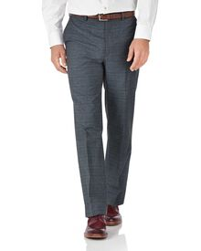 Blue classic fit cotton flannel check trousers