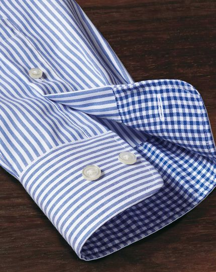 Classic fit non-iron Oxford royal blue bengal stripe shirt
