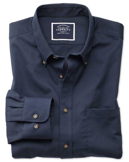 Slim fit non-iron twill navy shirt