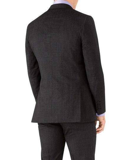 Charcoal slim fit hairline business suit jacket