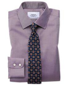 Chemise violette en twill sans repassage avec coupe droite