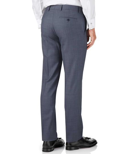 Light blue slim fit sharkskin travel suit trousers
