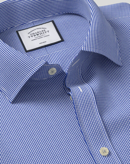 Chemise bleu roi pied-de-poule coupe droite sans repassage