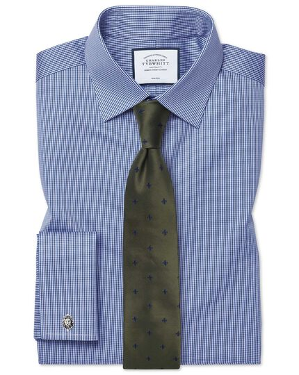 Classic fit non-iron puppytooth royal blue shirt