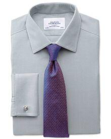 Bügelfreies Classic Fit Hemd in Grau mit Waffelmuster