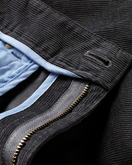 Charcoal slim fit stretch 5 pocket needle cord pants