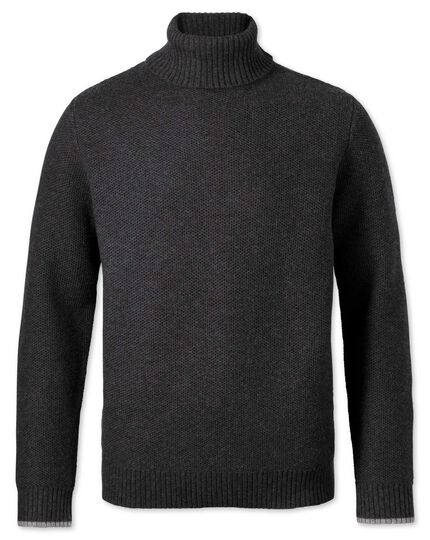 Charcoal merino cotton roll neck sweater