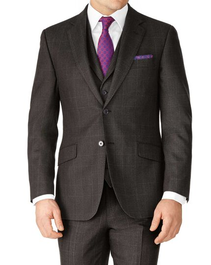 Dark grey slim fit saxony business suit jacket