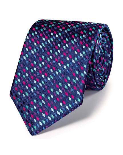 Blue silk luxury multi diamond geometric tie