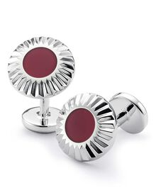 Burgundfy circle with textured edge enamel cufflink