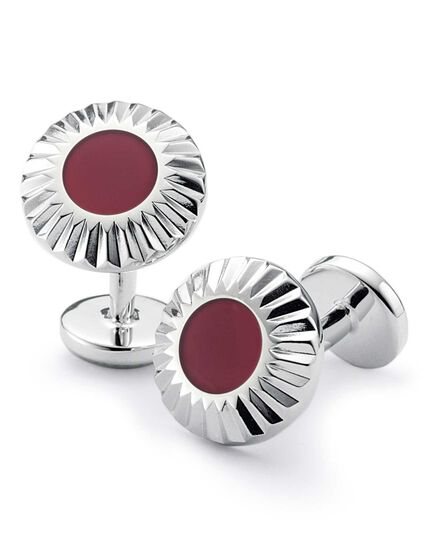 Burgundy circle with textured edge enamel cuff link