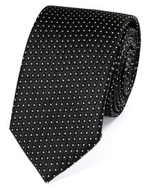 Slim black and white silk neat pattern classic tie