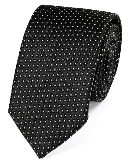 Slim black and white silk neat pattern classic tie
