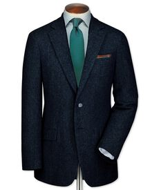 Classic fit blue tweed jacket