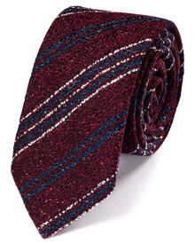 Wine wool mix rustic stripe luxury tie