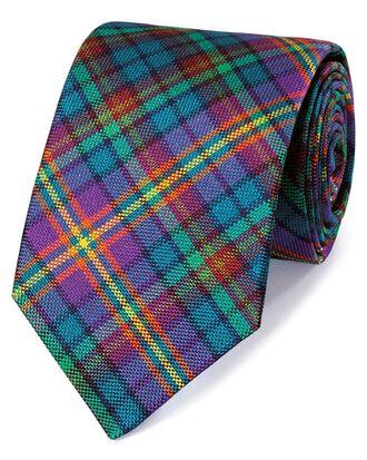 Purple and green silk multi check English luxury tie
