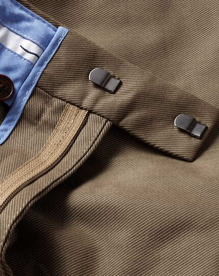 Tan slim fit stretch cavalry twill pants