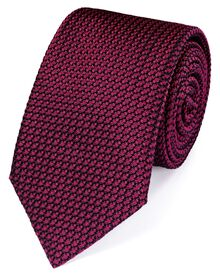 Dark pink silk plain grenadine luxury tie