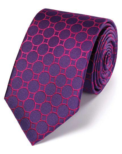 Purple silk circle link classic tie