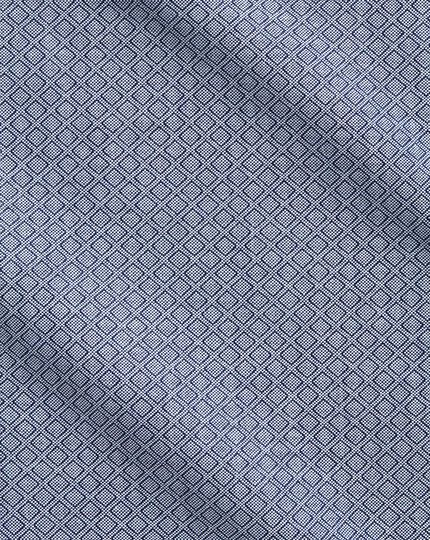 Slim Fit Business-Casual Hemd in Marineblau und Grau mit Diamant-Struktur
