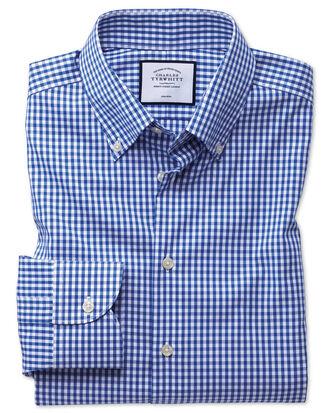 Bügelfreies Classic Fit Business-Casual Hemd mit Button-down Kragen in Königsblau mit Karos
