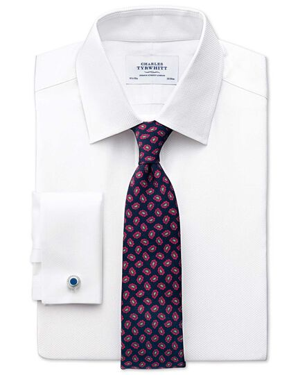 Classic fit Pima cotton double-faced white shirt