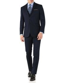 Slim Fit Business Anzug aus Hairline in Marineblau