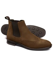 Brown Northward wing tip brogue Chelsea boots