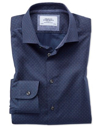 Slim fit semi-cutaway business casual hoop print navy blue multi shirt
