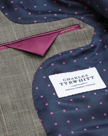 Slim Fit Panama-Businessanzug Sakko in Grau mit Prince-of-Wales-Karos