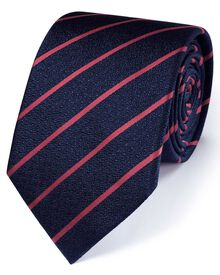 Navy and coral silk classic textured stripe tie