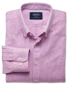 Classic fit chambray pink shirt