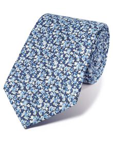 Blue multi cotton luxury Italian floral tie