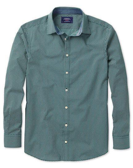 Slim fit dark green spot print shirt