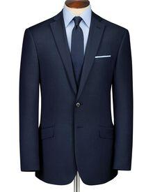 Navy classic fit sharkskin business suit jacket