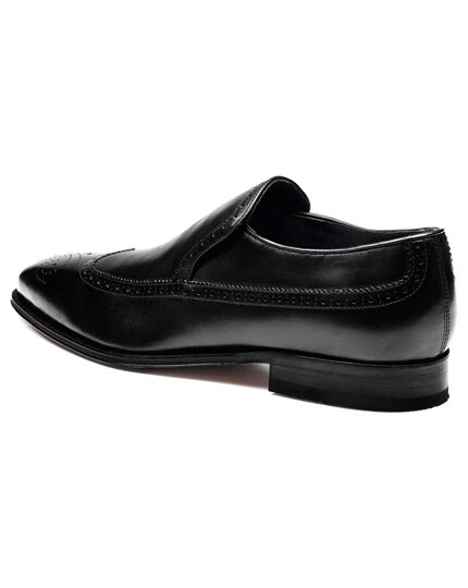 Black Salisbury wingtip brogue loafers