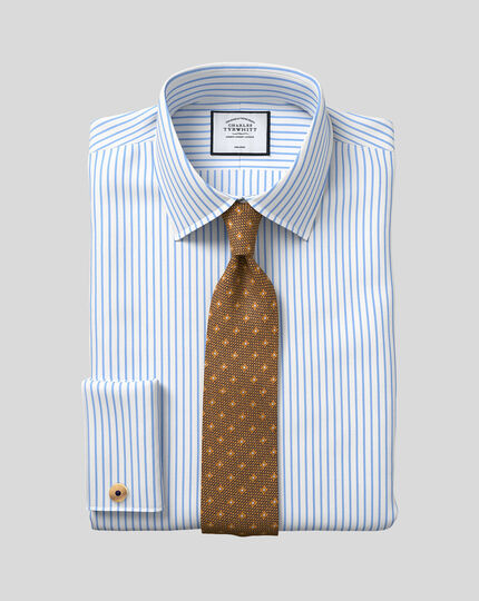 Extra slim fit non-iron twill stripe white and sky blue shirt