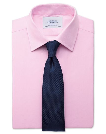 Slim fit small herringbone pink shirt