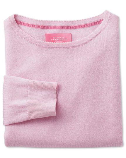 Light pink merino cashmere long line sweater