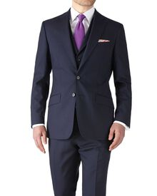 Navy slim fit flannel business suit jacket