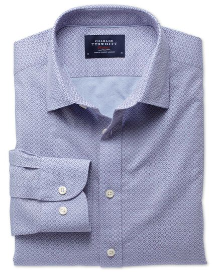 Classic fit sky blue and purple geometric print shirt