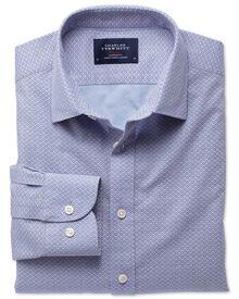 Slim fit geometric print sky and purple shirt