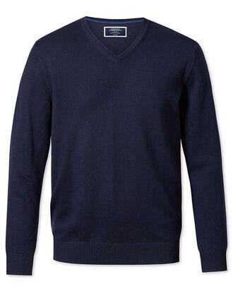 Navy merino wool v-neck jumper