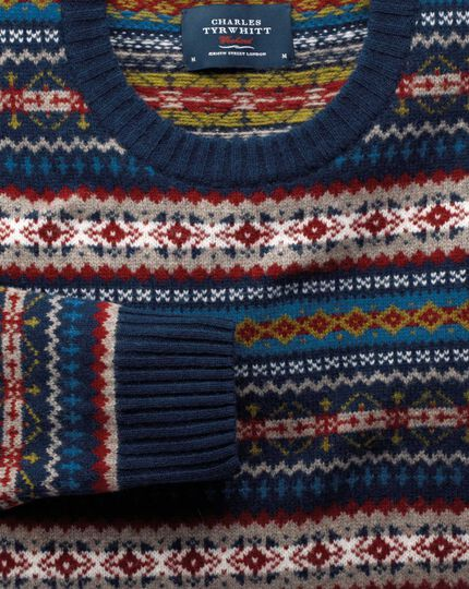 Multi fairisle crew neck sweater