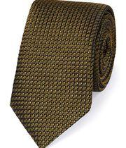 Dark yellow silk plain grenadine Italian luxury tie