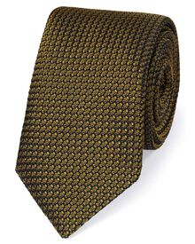 Dark yellow silk plain grenadine Italian luxury tie