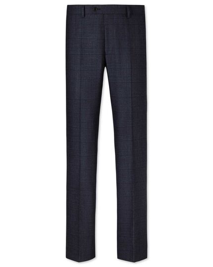 Navy slim fit Glen check business suit pants